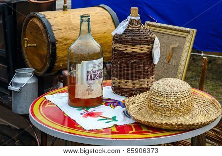 Shrovetide Festivities. Bottles With Belorussian Moonshine
