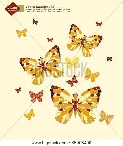 Abstract background with butterflies for your design. Vector illustration