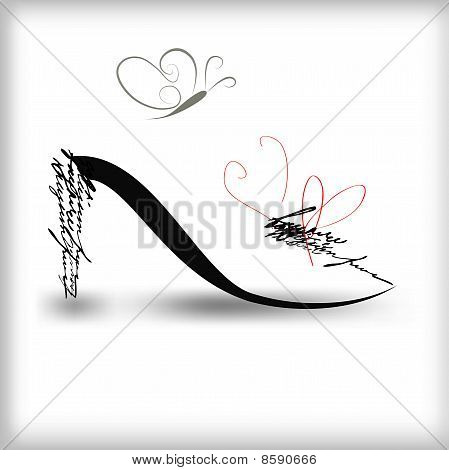 Stylized Shoe Silhouette With Butterfly