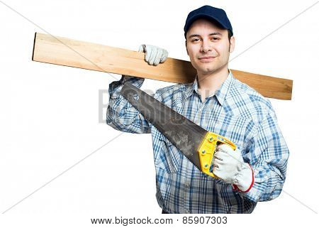 Carpenter with his tools isolated on white