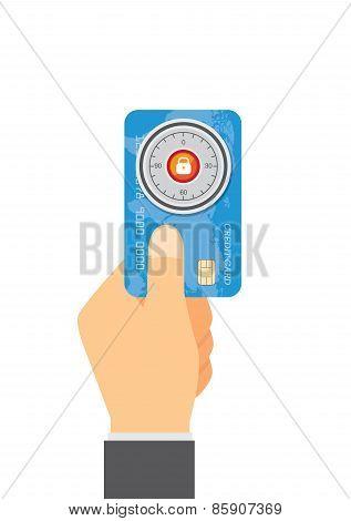 Safe lock over credit card