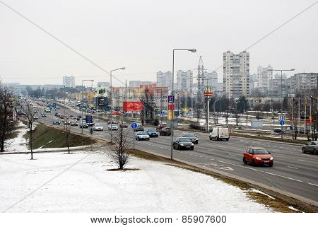 Winter In Capital Of Lithuania Vilnius City View From Seskine District