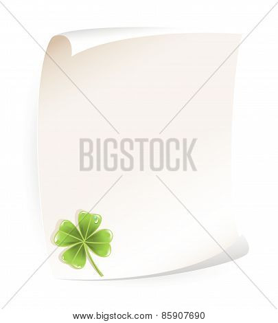 Paper notice board with shamrock