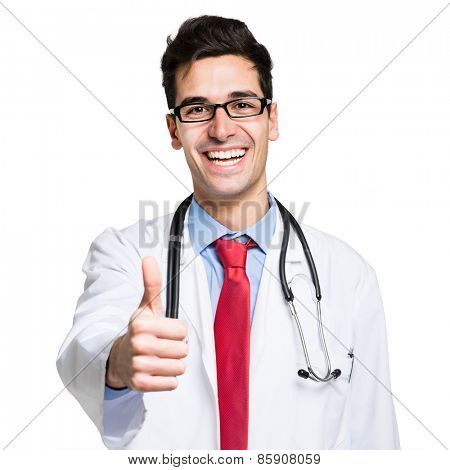 Portrait of a friendly doctor smiling giving thumbs up