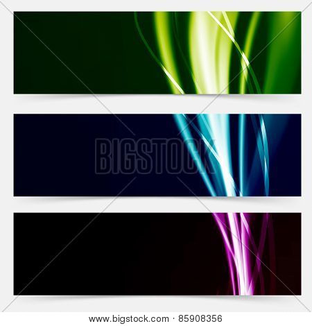 Colorful Header Collection Speed Futuristic Line Pattern