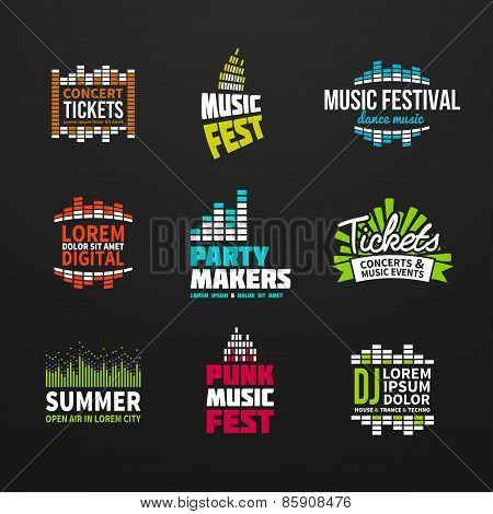 Second big set music equalizer logotype vector elements