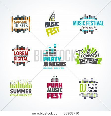 Second big set music equalizer emblem vector elements
