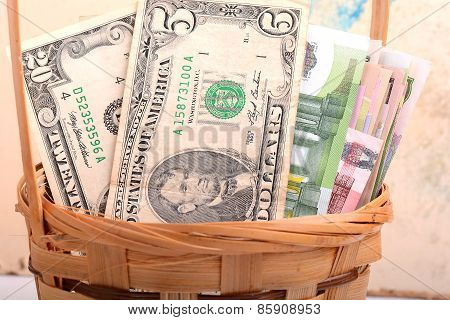 Money Set In A Basket, Dollars, Euro And Ukrainian Money