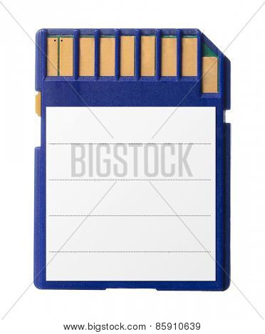 blue memory card with sticker isolated on white