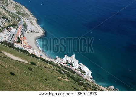 Elevated view of Gibraltar coastline.