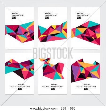 Abstract background set. Colorful geometric composition. AI EPS 10