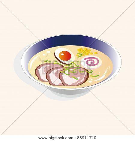 Japanese Food Theme Ramen Noodles Elements Vector,eps