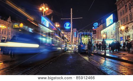 Tram At Night In Zagreb