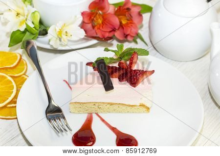 dessert on a table with tea