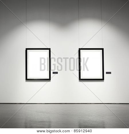 Exhibition hall with empty frames on wall