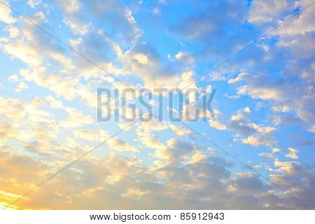 Sky with clouds at sundown, may be used as background