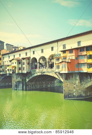 Old bridge in Florence, Italy.  Instagram style filtred image