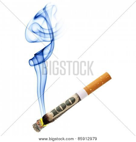 Money for smoking - cigarette stub isolated over white background