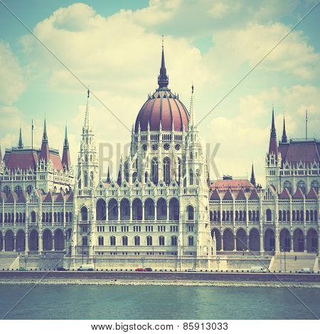 The Parliament in Budapest, Hungary.  Instagram style filtred image