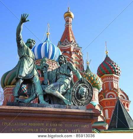 St. Basil's cathedral and monument to Minin and Pozharsky on the Red square in Moscow, Russia