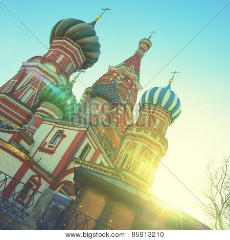 St. Basil's cathedral on Red Square in Moscow. Instagram style filtred image