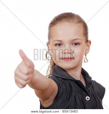 Little girl is showing thumb up gesture using both hand, isolated over white