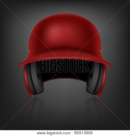 Red Baseball Helmet. Vector Background.