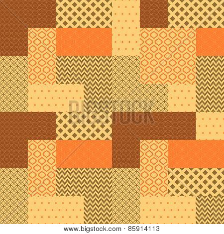 Orange and brown patchwork quilted geometric seamless pattern, vectorOrange and brown patchwork quil