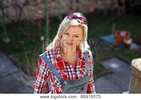 Blonde Woman At Backyard Portrait