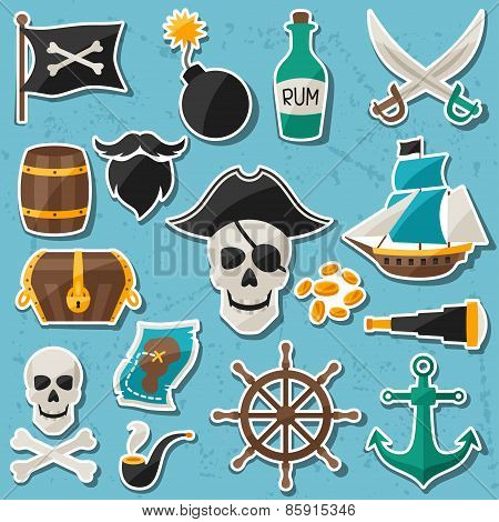 Set of stickers and objects on pirate theme