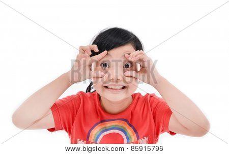 portrait of a beautiful little child fun hand gesture
