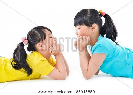 happy two little girls on the white background