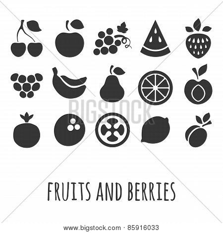 Vector icon set with other fruits and berries