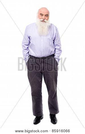 Matured Man Posing To Camera, Full Length.