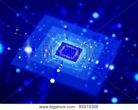 Blue Glowing Squares In Cyberspace With Particles