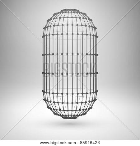 Wireframe mesh polygonal capsule.