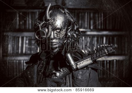 Steampunk man wearing mask with various mechanical devices.  Fantasy. Black-and-white photo.