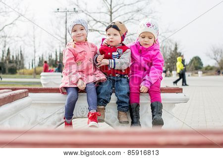 Fun Toddlers Playing In The Park