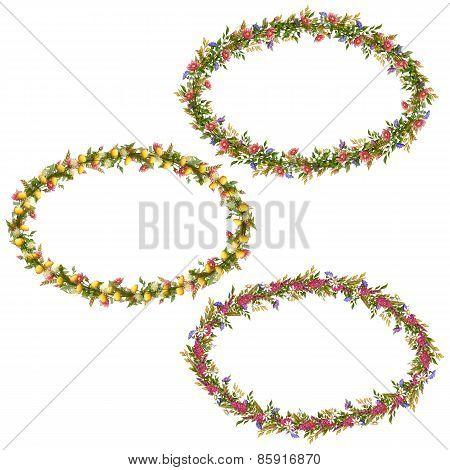 Vector floral oval frames for your design