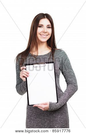 Young woman with folder and copy space