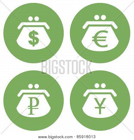 Green purse icons set