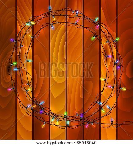 Garland Lights On Wood Background