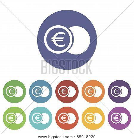 Euro coin flat icon