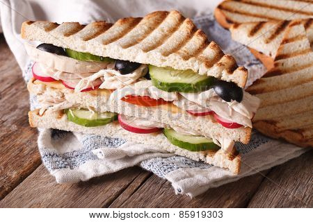Toast With Chicken, Cheese And Vegetables, Horizontal