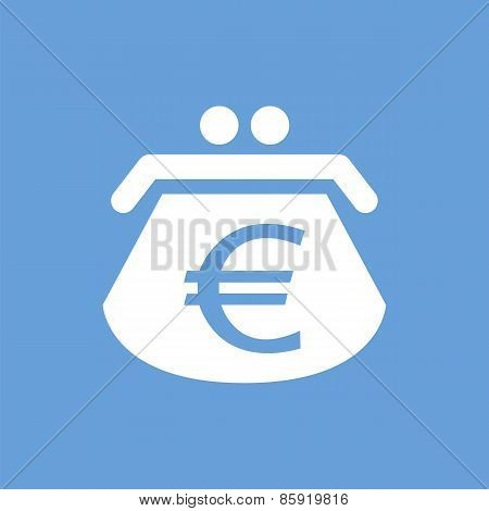 Euro purse white icon
