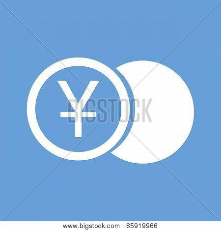 Yen coin white icon