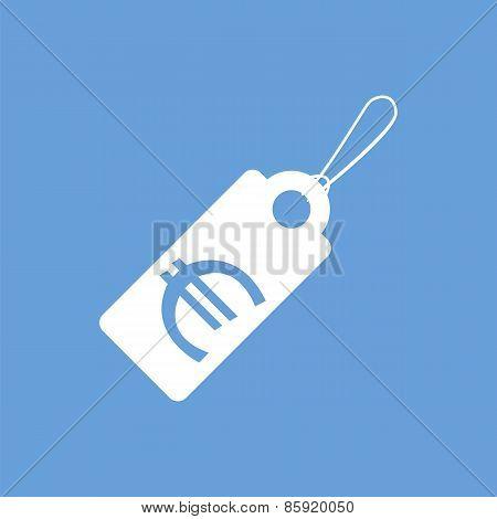 Euro tag white icon