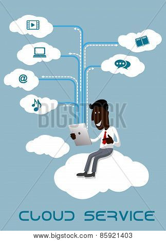 Businessman with tablet sitting on a cloud