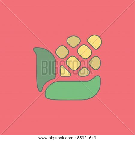 Stylized illustration corn flat icon isolated on color background