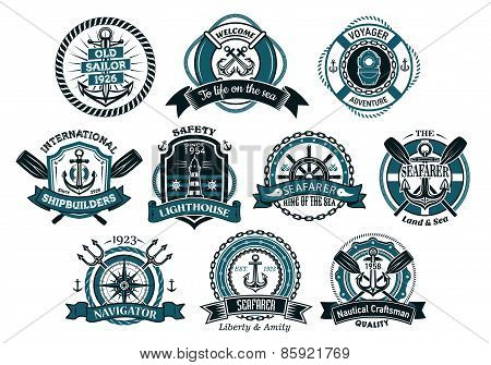 Creative seafarers or nautical logos and banners
